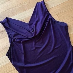 The Limited Purple Cowl Sleeveless Neck Top - Lge